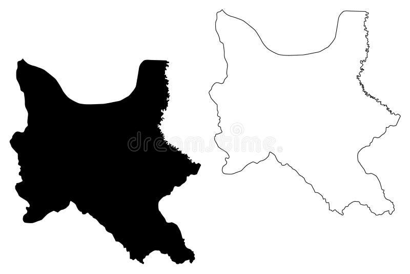 Cochabamba-Abteilungs-multinationaler Staat von Bolivien, Abteilungen der Bolivien-Kartenvektorillustration, Gekritzelskizze Coch stock abbildung