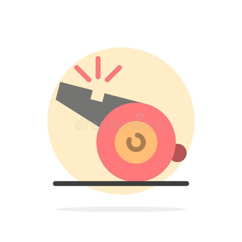 Coche, árbitro, deporte, icono plano del color de fondo del círculo del extracto del silbido ilustración del vector
