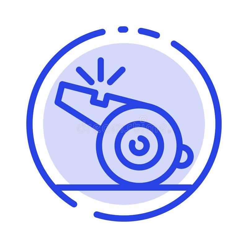 Coche, árbitro, deporte, línea de puntos azul línea icono del silbido libre illustration