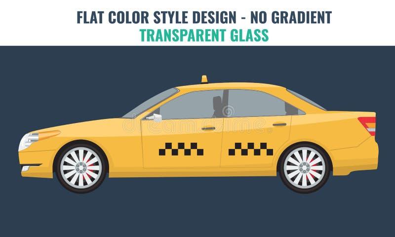 Coche amarillo del taxi con diseño arriba detallado pero plano del color libre illustration