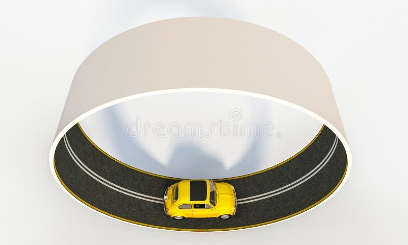 coche amarillo del vintage en la carretera de circunvalación 3d stock de ilustración
