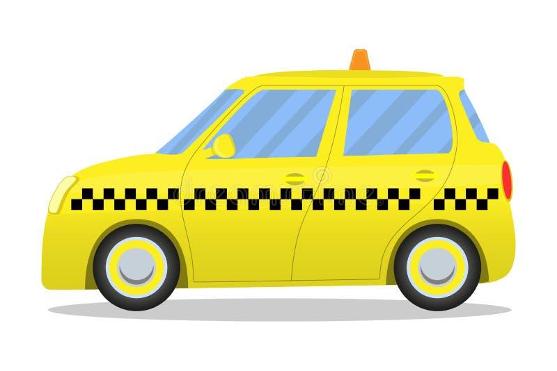 Coche amarillo lindo del taxi de la historieta aislado en el fondo blanco Ilustración del vector libre illustration