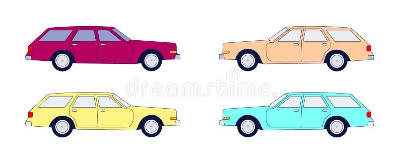 Coche americano de la furgoneta del vintage en vector stock de ilustración