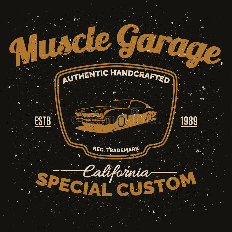 Coche americano del músculo del vintage para imprimir con textura del grunge stock de ilustración