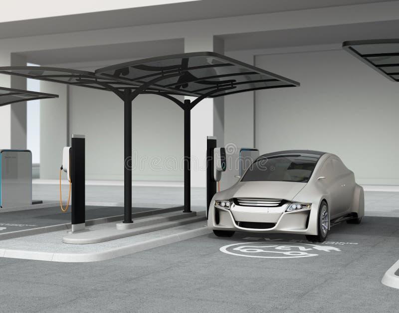 Coche autónomo de plata en la estación de carga del vehículo eléctrico ilustración del vector