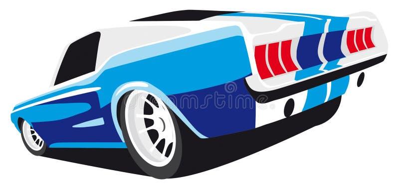 Coche azul del músculo ilustración del vector