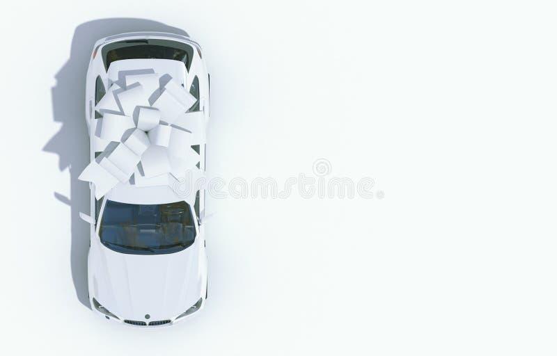 Coche blanco envuelto en un arco blanco de la cinta en un fondo blanco Regalo costoso Visi?n superior 3d rinden con el espacio de libre illustration