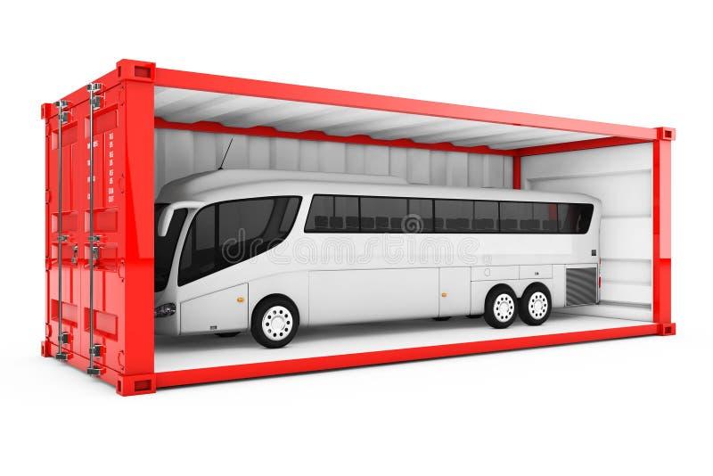 Coche blanco grande Tour Bus en contenedor rojo con quitado libre illustration