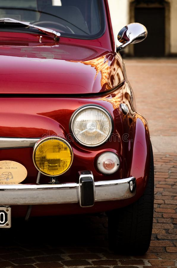 Coche clásico de Fiat 500 Abarth en Turín imagen de archivo libre de regalías