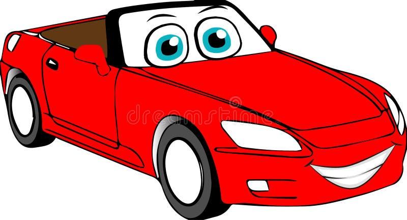 Coche coloreado rojo de la historieta foto de archivo libre de regalías