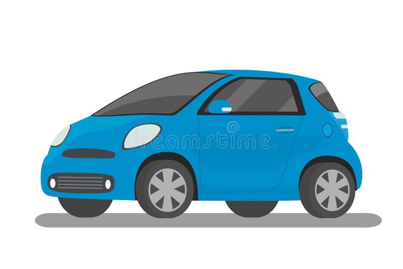 Coche compacto azul de la historieta moderna, aislado en el fondo blanco stock de ilustración