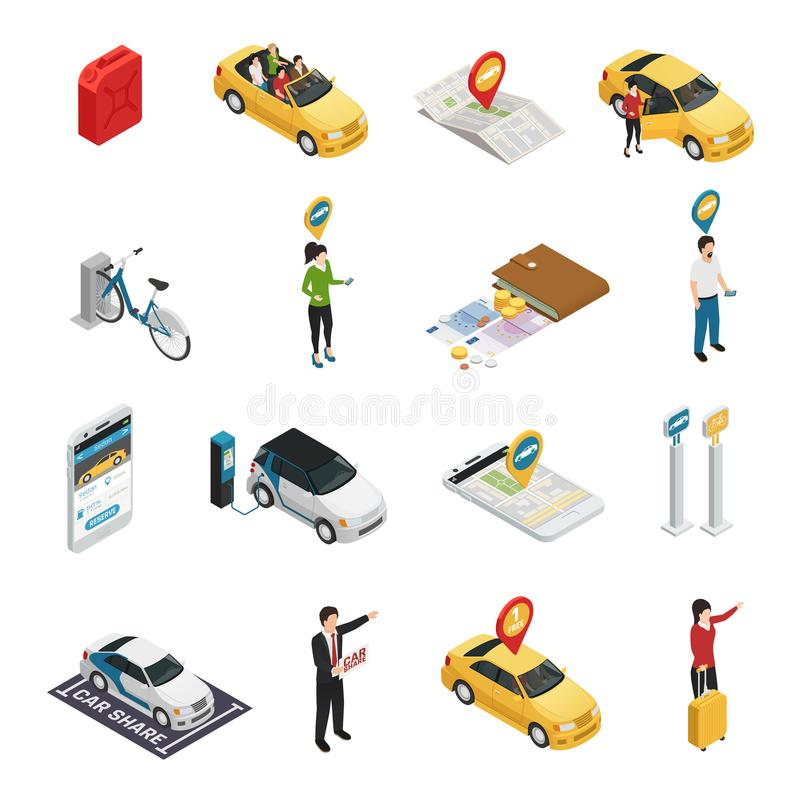 Coche compartido Carpooling el sistema de Ridesharing stock de ilustración