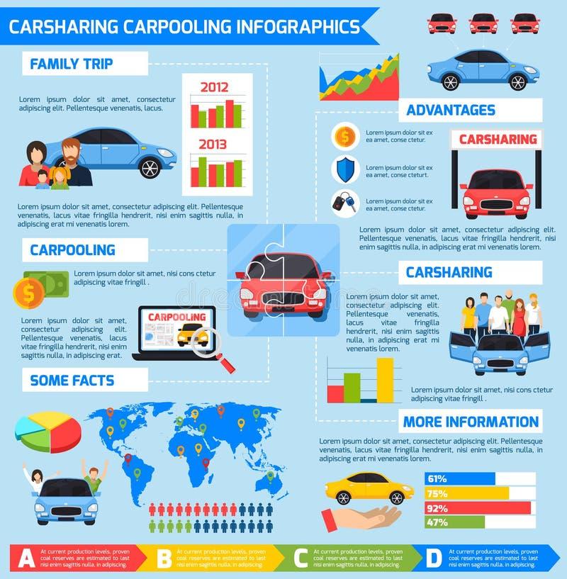 Coche compartido Carpooling Infographics stock de ilustración