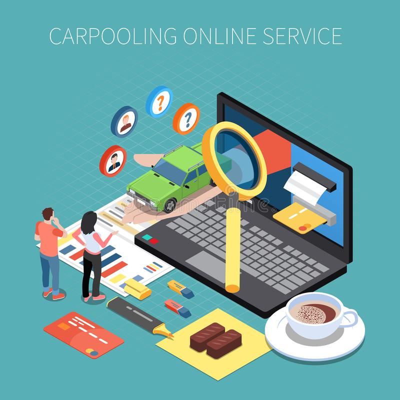 Coche compartido y Carpooling concepto isométrico stock de ilustración