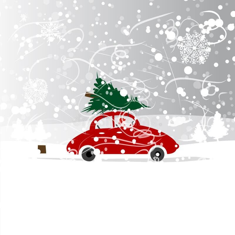 Coche con el árbol de navidad, ventisca del invierno para su stock de ilustración