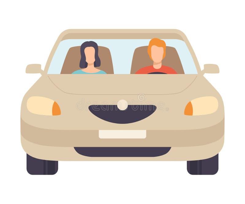 Coche con el conductor y el pasajero, Front View Vector Illustration stock de ilustración