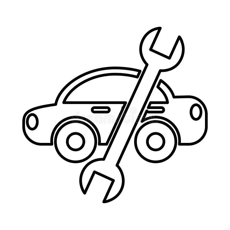 Coche con el icono de la herramienta del mecánico de la llave libre illustration