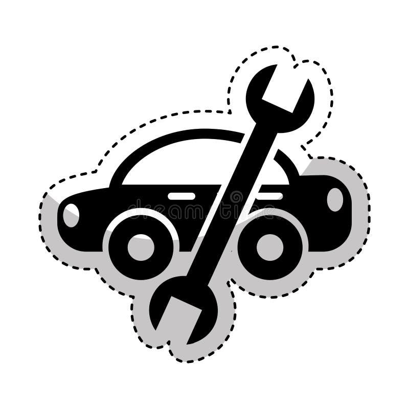 Coche con el icono de la herramienta del mecánico de la llave ilustración del vector