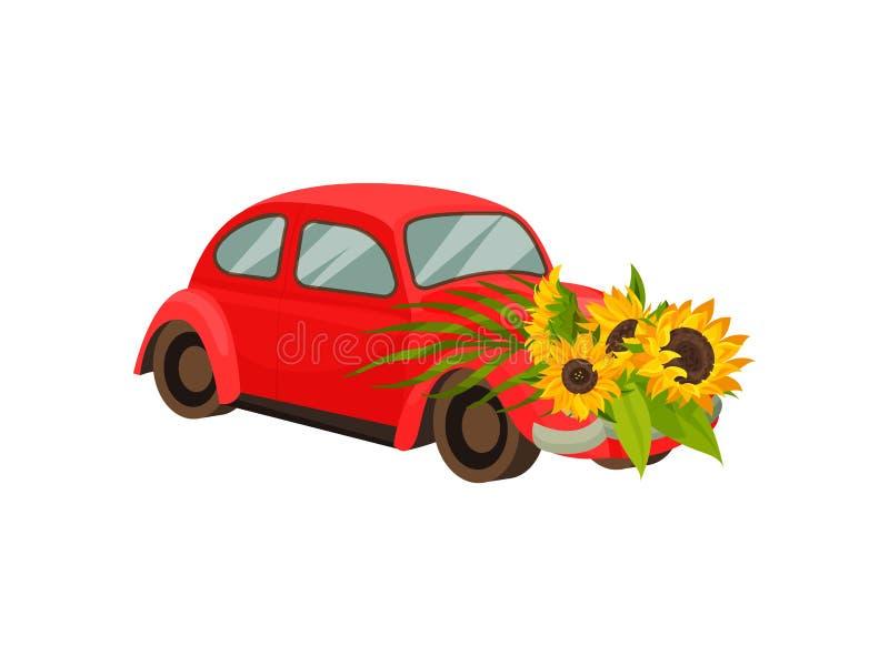 Coche con el parachoques delantero del girasol de las flores Ilustraci?n del vector en el fondo blanco ilustración del vector