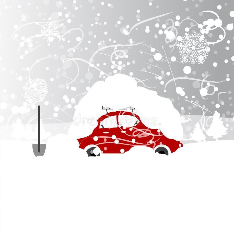 Coche con el snowbank en el tejado, ventisca del invierno ilustración del vector