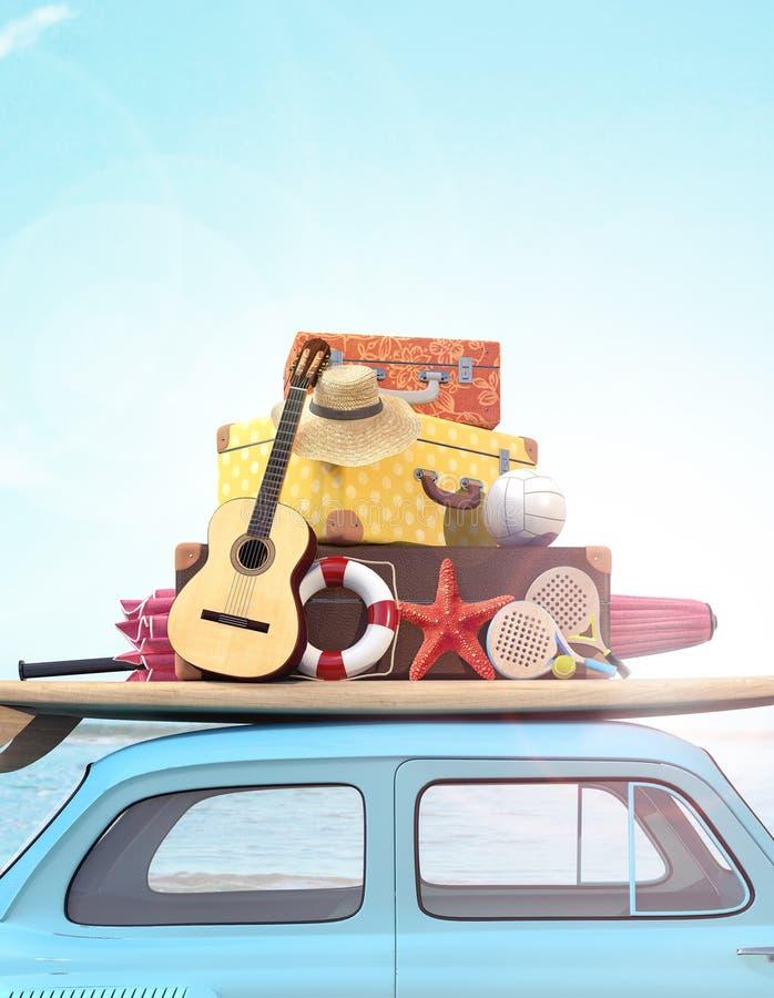 Coche con equipaje en el tejado listo para las vacaciones de verano fotos de archivo libres de regalías