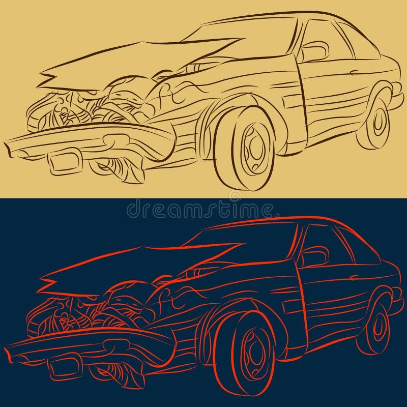 Coche dañado partes frontales ilustración del vector