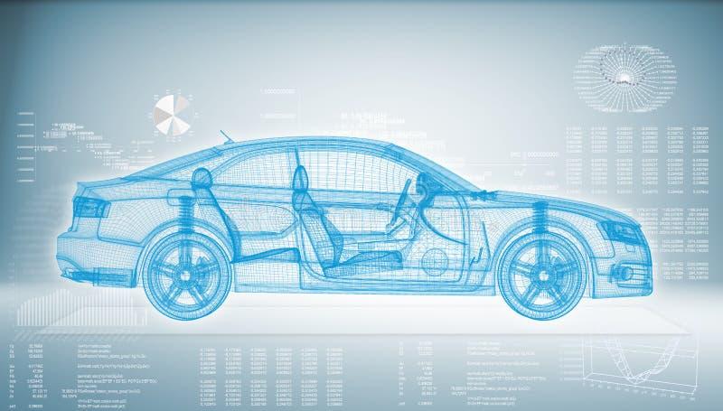 Coche de alta tecnología en un fondo azul ilustración del vector