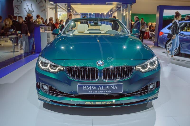 Coche de BMW Alpina Cabrio B4 Biturbo en el salón del automóvil de IAA Francfort imágenes de archivo libres de regalías