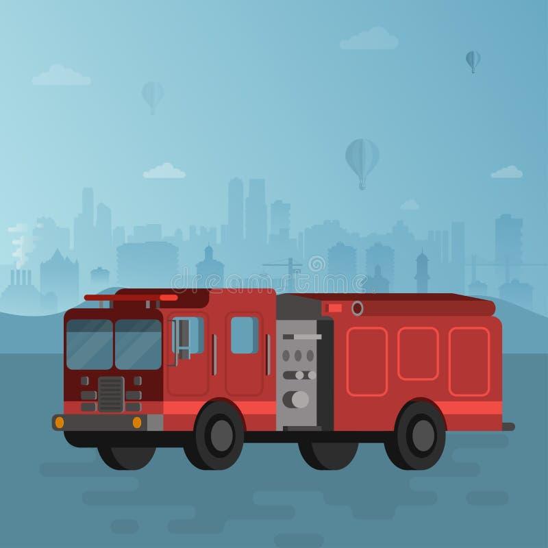 Coche de bomberos rojo en el ejemplo azul del vector del fondo del paisaje urbano ilustración del vector