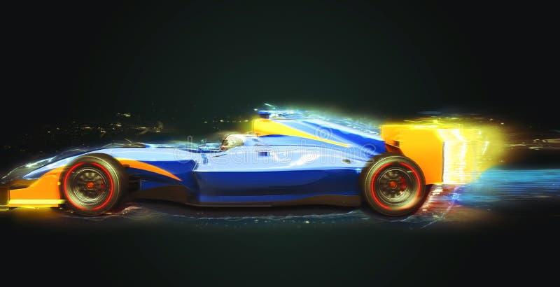 Coche de carreras del Fórmula 1 con el rastro ligero ilustración del vector