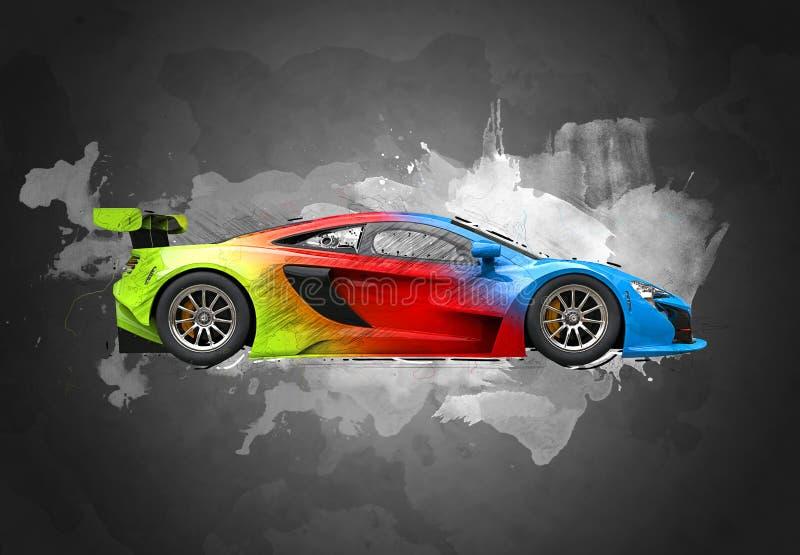 Coche de carreras estupendo moderno colorido - bosqueje el chapoteo del color ilustración del vector