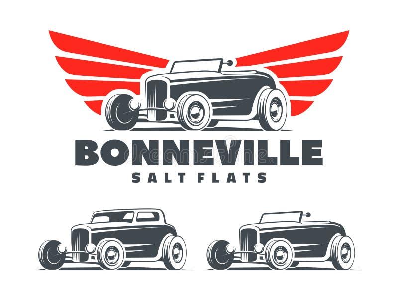 Coche de carreras retro con el logotipo estilizado de las alas ilustración del vector