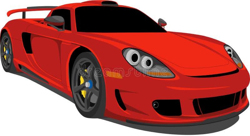 Coche de carreras rojo stock de ilustración