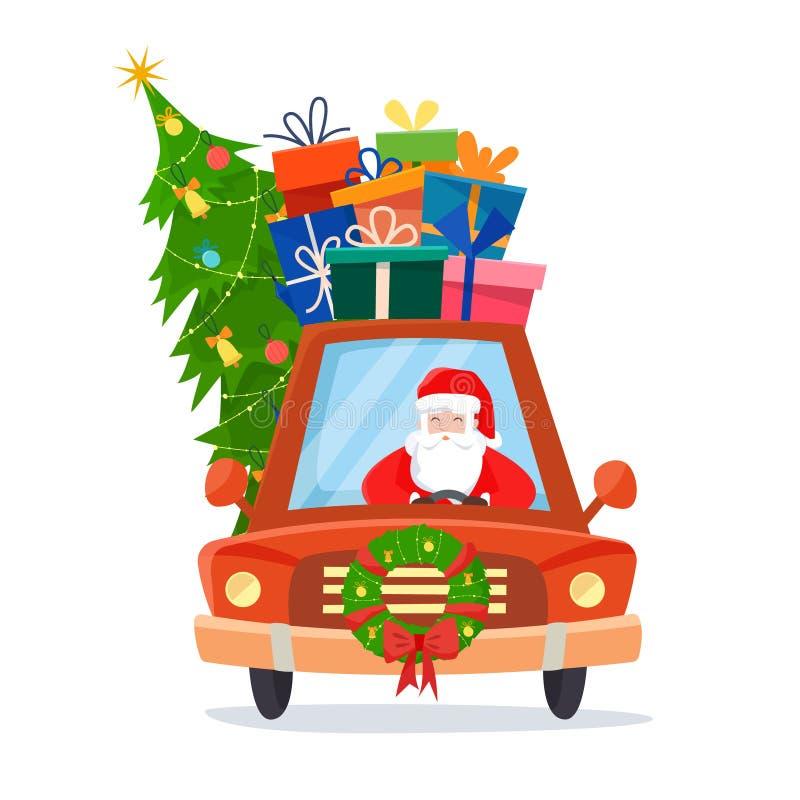 Coche de Chrismas con Santa Claus como el conductor con los regalos, el árbol y las decoraciones ilustración del vector