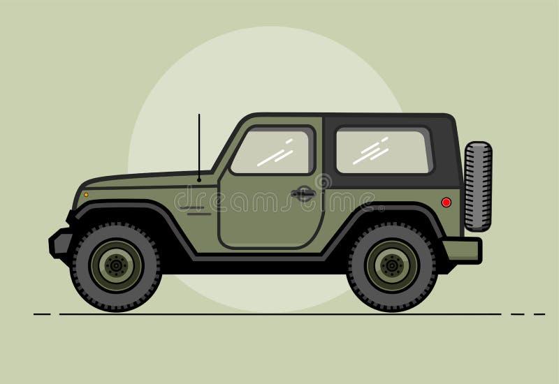 Coche de color caqui retro moderno del vector E Recorrido en coche Coche retro del viaje Deportes extremos, deportes 4x4 Vehículo ilustración del vector