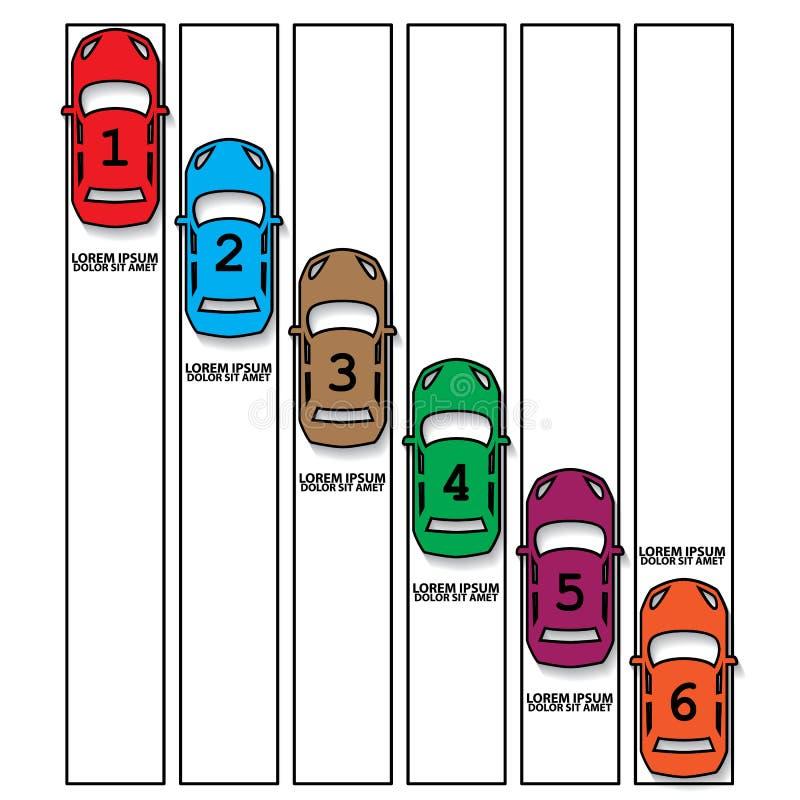 Coche de competición del color y etiqueta hueco libre illustration