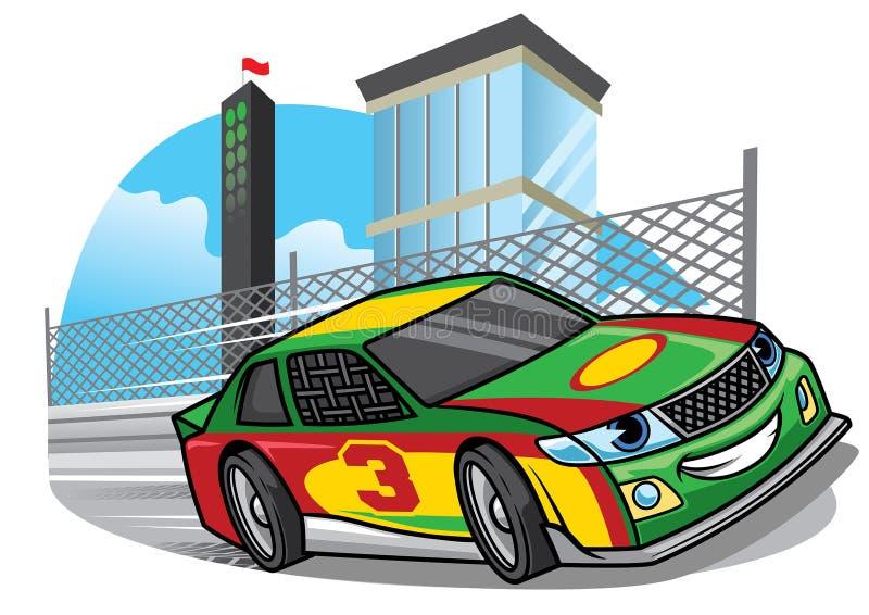 Coche de competición de la historieta que corre rápidamente en la pista ilustración del vector