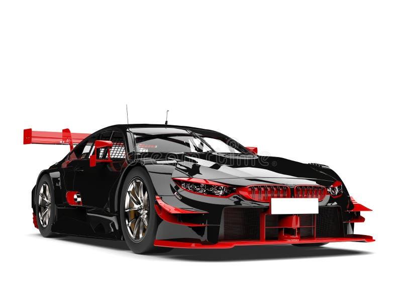 Coche de competición oscuro asombroso con los detalles rojos stock de ilustración