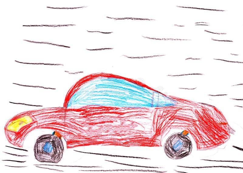 Coche de competición rojo. gráfico del niño libre illustration