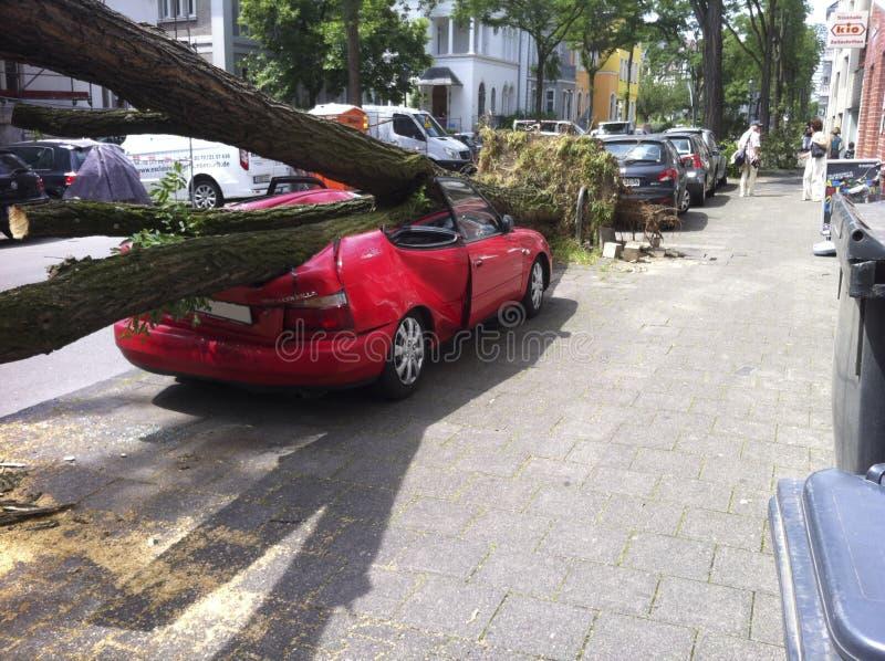 Coche de Demaged después del huracán foto de archivo