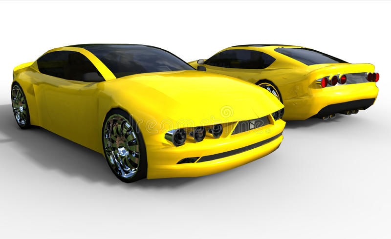 Coche de deportes amarillo ilustración del vector