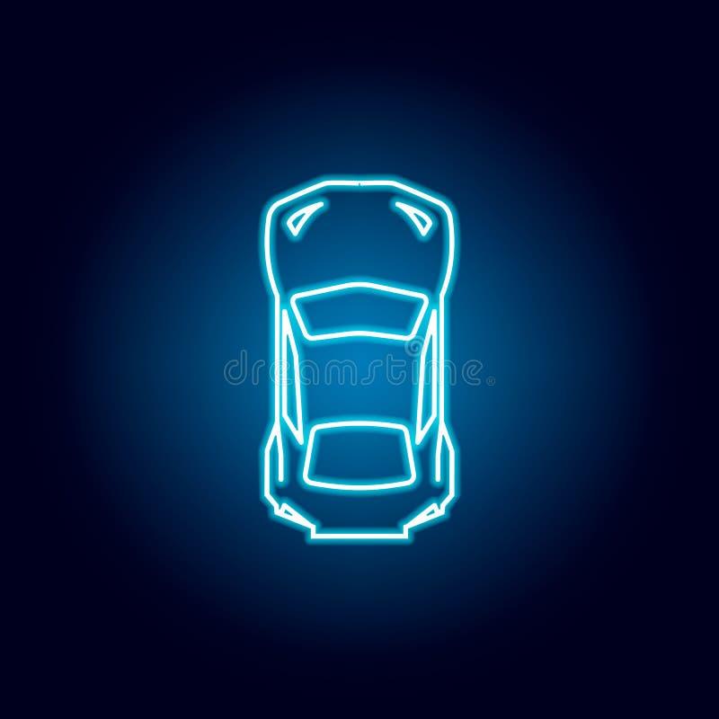 coche de deportes del icono superior en estilo de neón azul Elemento de competir con para el concepto y el icono m?viles de los a ilustración del vector