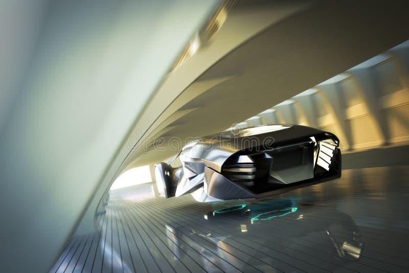 Coche de deportes de lujo futurista que asoma en las velocidades a través de un túnel interior moderno libre illustration