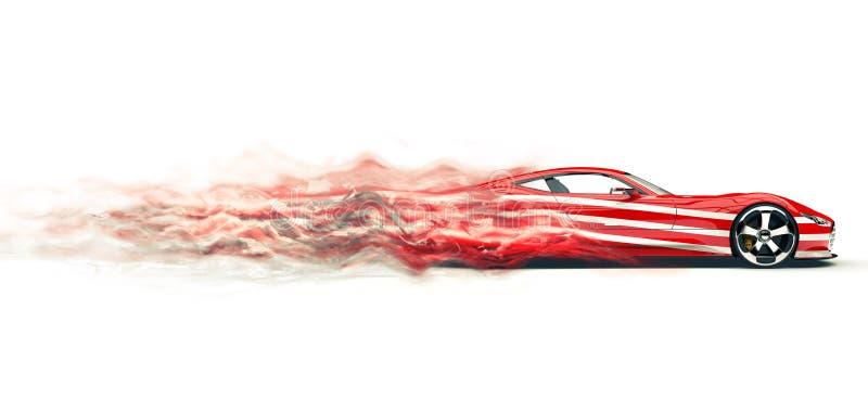 Coche de deportes rojo con las rayas blancas - fume el efecto del rastro libre illustration