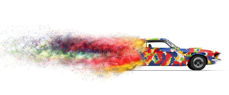 Coche de desintegración Trippy ilustración del vector