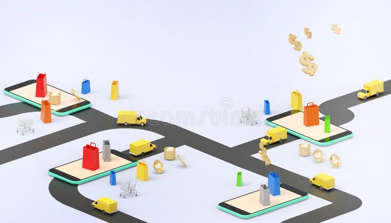 Coche de entrega en línea del mercado de las ventas para el bolso de compras del concepto de la aplicación móvil en el márketing  stock de ilustración
