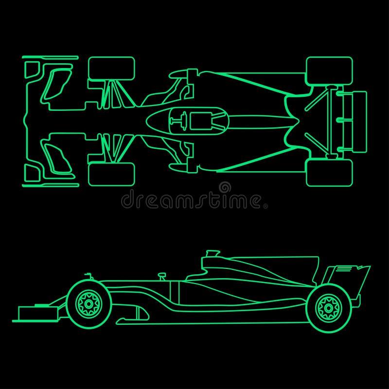 Coche de fórmula, silueta ligera linear de un coche de competición aislado en fondo negro Visión superior y vista lateral Vector stock de ilustración