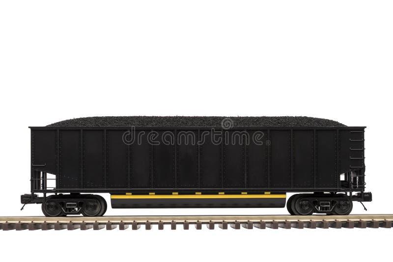 Coche de ferrocarril del carbón en pista foto de archivo