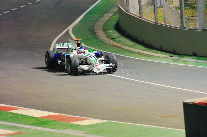 Coche de Honda de Jenson Button en Singapur F1 2008 fotos de archivo