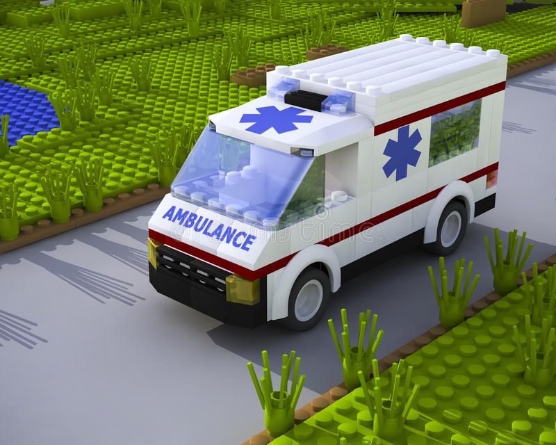 coche de la ambulancia del lego 3D stock de ilustración